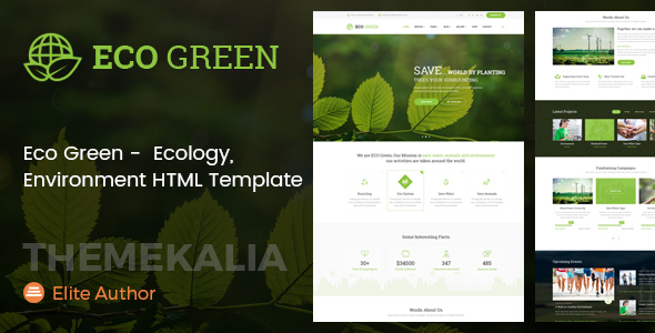 Download Eco Green - HTML Template for Environment, Ecology and Renewable Energy Company Green Html Templates