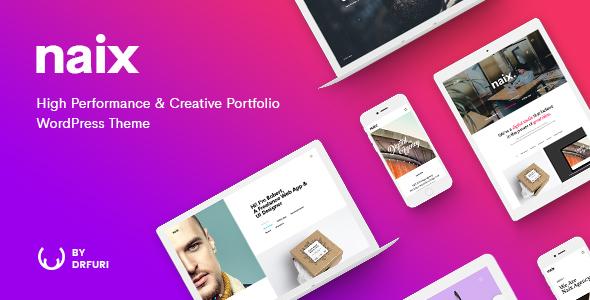 Download Naix - Creative & High Performance Portfolio WordPress Theme 3 Column WordPress Themes