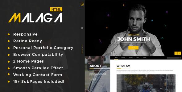 Download Malaga : Personal Portfolio HTML Template Portfolio Html Templates