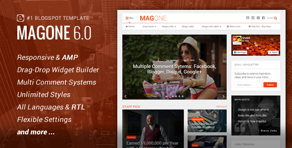 Download MagOne - Responsive News & Magazine Blogger Template Magazine Blogger Templates