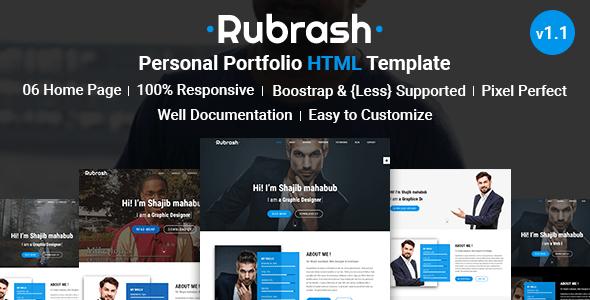Download Rubrash - Personal Portfolio HTML Template Portfolio Html Templates
