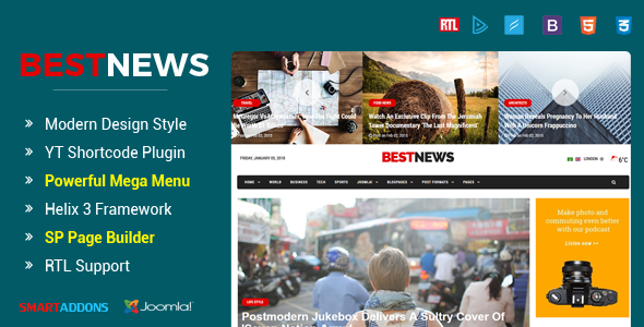 Download BestNews - Ultimate Drag & Drop News & Magazine Joomla Template Magazine Joomla Templates