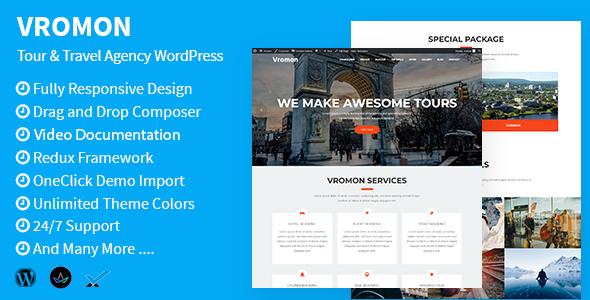 Download Vromon - Tour & Travel Agency WordPress Theme Travel WordPress Themes