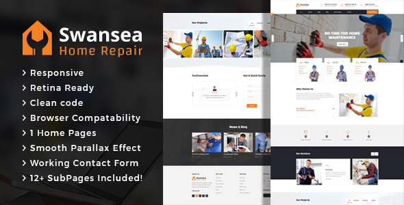 Download Swansea - Plumbing and Construction HTML Template Fast Load Html Templates