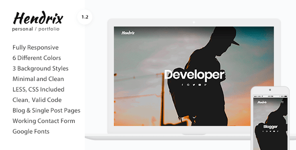 Download Hendrix - Personal Portfolio HTML Template Portfolio Html Templates