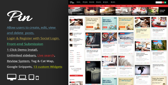 Download Pin = Pinterest Style / Personal Masonry Blog / Front-end Submission Pinterest WordPress Themes