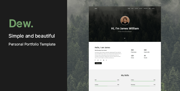 Download Dew - Personal Portfolio Template Youtube Html Templates