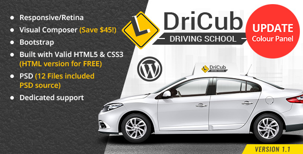 Download DriCub - Driving School WordPress Theme School WordPress Themes