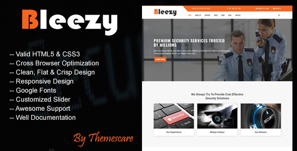 Download Bleezy - Security Company HTML Template Company Html Templates