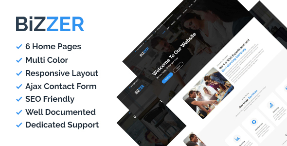 Download Bizzer - One Page Parallax and Business HTML5 Template Onepage Blogger Templates