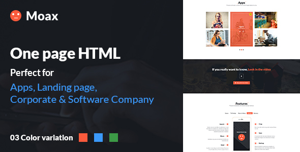 Download Moax - One Page Multipurpose HTML Landing page (App, Software & Others) Green Html Templates