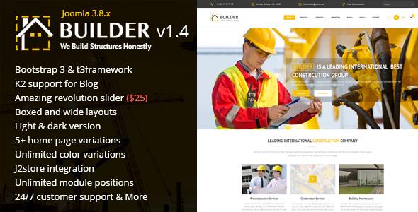 Download Builder - Building & Construction Joomla Template Fast Load Joomla Templates