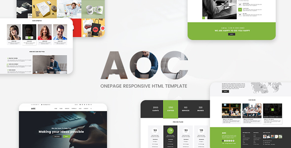 Download AOC - Onepage Responsive Html Template Responsive Html Templates