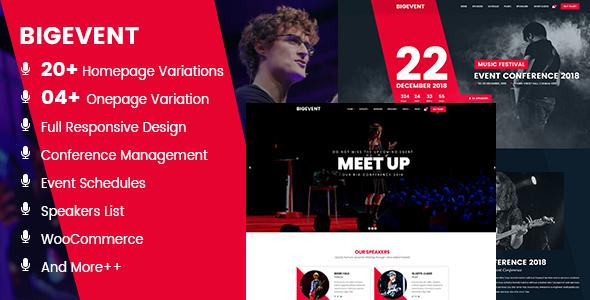 Download BigEvent- Conference Event WordPress Theme Event WordPress Themes