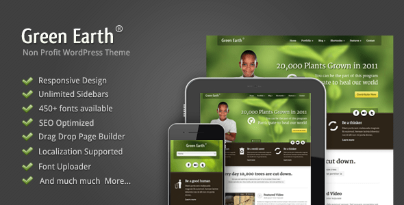 Download Green Earth - Environmental WordPress Theme Green WordPress Themes