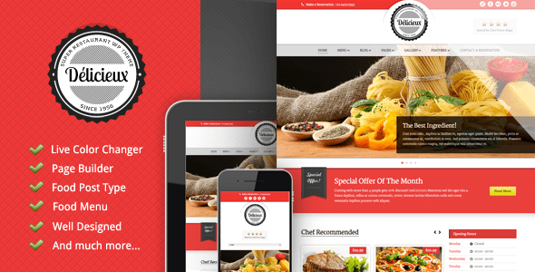 Download Delicieux - Restaurant Wordpress Theme Restaurant Wordrpess Themes