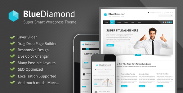 Download Blue Diamond - Responsive Corporate WP Theme Blue WordPress Themes