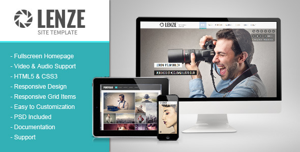 Download Lenze - Portfolio Photography HTML Template Youtube Html Templates