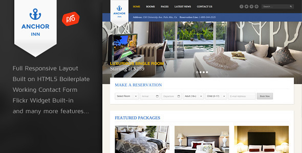 Download Anchor Inn - Hotel and Resort Site Template Amp Html Templates