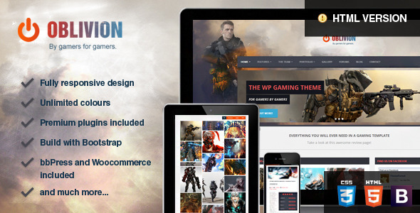Download  Oblivion - The Multi-Purpose Gaming Template Game Html Templates