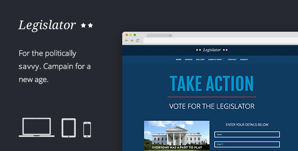 Download Legislator: Political WordPress Campaign Blue WordPress Themes