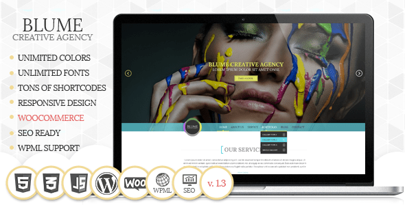 Download Blume Responsive WordPress Theme Blue WordPress Themes