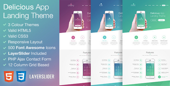 Download Delicious - Responsive App Landing HTML Theme Pink Html Templates