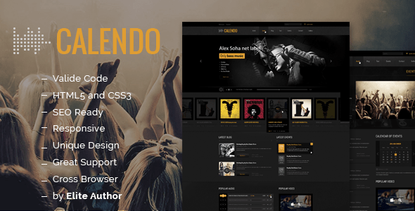 Download Calendo Music Responsive HTML Template Music Html Templates
