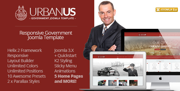 Download Urbanus - Responsive Government Joomla Template Blog Joomla Templates