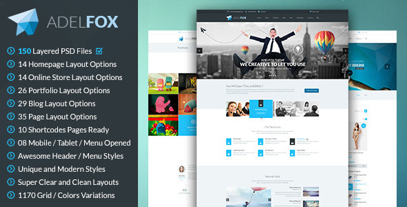Download AdelFox | Multi-Purpose PSD Template Joomla WordPress Themes
