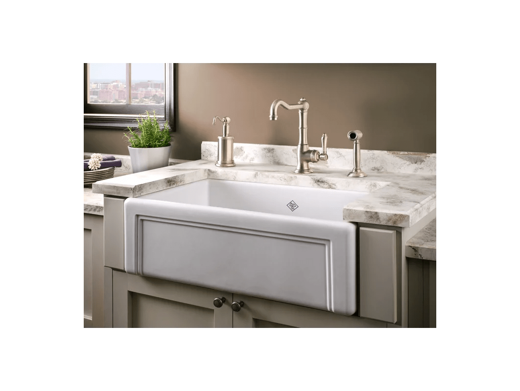 f rohl kitchen faucets Rohl RCWH White Shaws 30 Single Basin Farmhouse Fireclay Kitchen Sink with Decorative Casement Faucet com