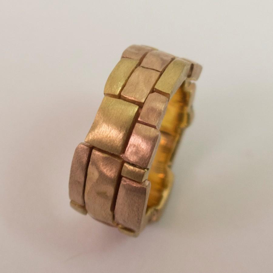 mens gold wedding band 5mm brushed half gold mens wedding bands Wedding Ring Gold zoom