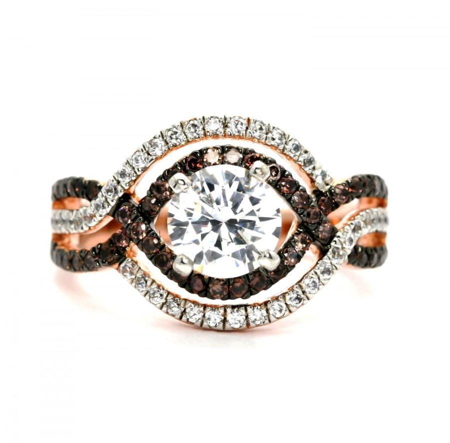 levian chocolate diamonds 3 8 ct tw ring 14k strawberry gold chocolate diamond wedding rings Hover to zoom