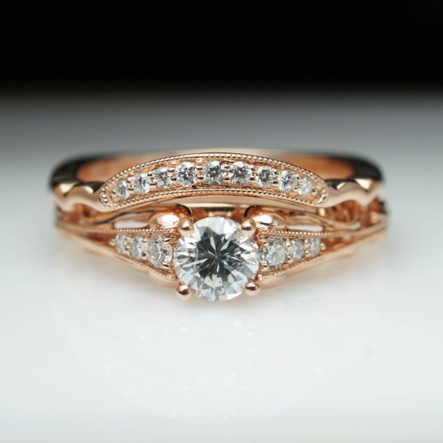 matching gold wedding bands images of wedding rings sets Rub Over Engagement Ring with Matching Diamond