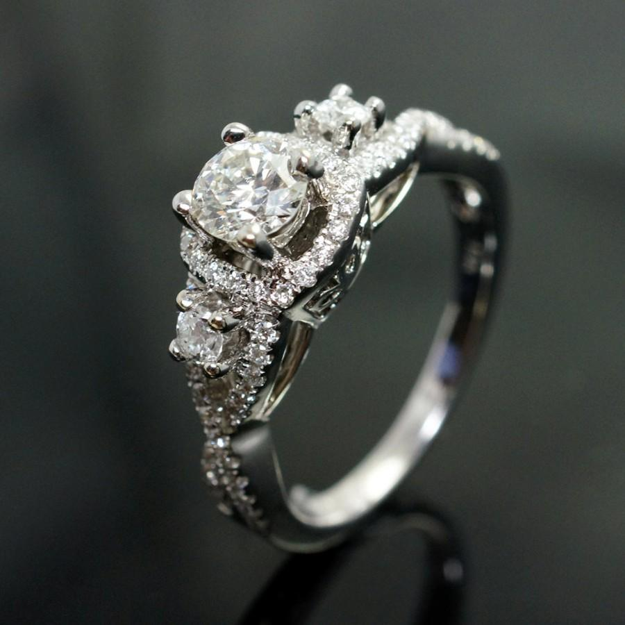 diamond bridal set 1 2 ct tw princess cut 14k white gold diamond wedding ring sets Hover to zoom