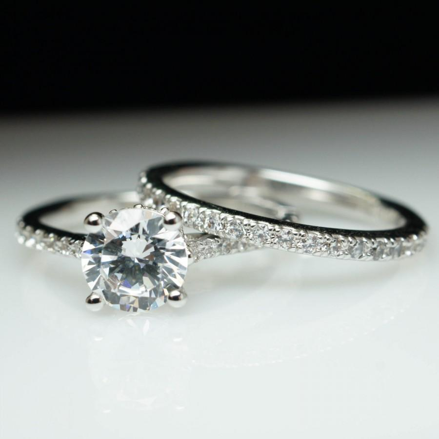 thin diamond band wedding ring band 2pcs 1ct Moissanite Bridal Ring Set Engagement ring White Plain gold Ultra Thin Diamond wedding band 6 5mm Round stone Promise Ring Stacking