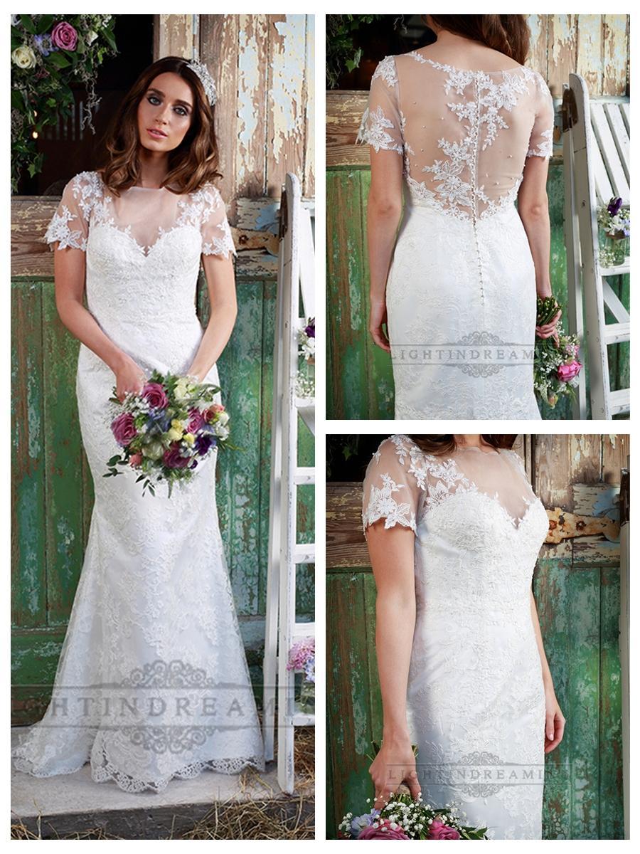 illusion neckline short sleeves lace mermaid wedding dress short sleeve wedding dress Illusion Neckline Short Sleeves Lace Mermaid Wedding Dress
