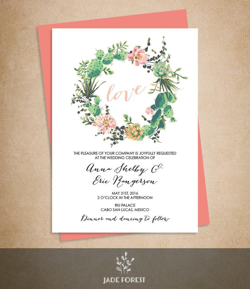 brilliant succulents wedding shower invitation succulent wedding invitations Brilliant Succulents Wedding Shower Invitation