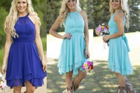 2016 hot sale country style turquoise bridesmaid dresses crew neck ruffled chiffon mini dress beach wedding party dresses online with 8063piece on hjklp88s store dhgatecom