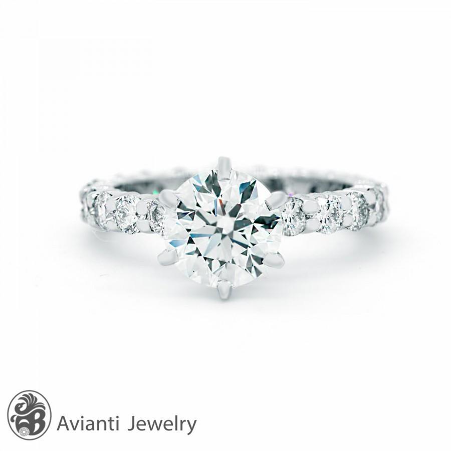 diamond engagement ring with pave diamonds crown 0 2 carat round diamond 18k solid gold round diamond wedding rings Round Diamond Engagement Ring with Half Halo 0 2 Carat
