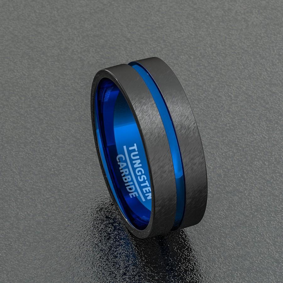 mens wedding band comfort fit interior black mens wedding rings Men s Wedding Band Comfort Fit Interior Hammered Black Zirconium Ring zoom
