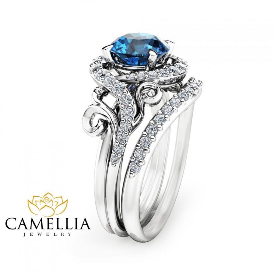 blue topaz and peridot wedding ring 2 blue topaz wedding band HN Jewelry