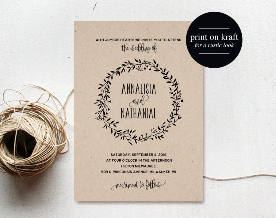 Rustic Wedding Invitation Printable Wreath Country invitation