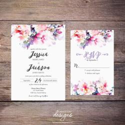 Gorgeous Printable Watercolor Floral Wedding Invitation Spring Diy Print Yourself Printable Watercolor Floral Wedding Invitation Spring Flowers Diy Wedding Invitations On Microsoft Word Diy Wedding In