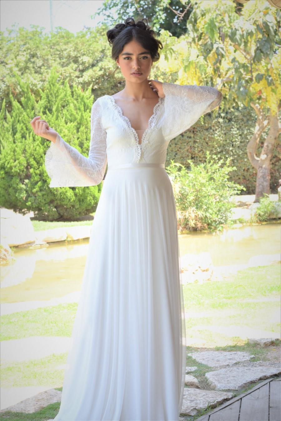 bohemian beach wedding gowns backless boho wedding dress Beaded Chiffon Beach Wedding Dress Autumn Collection