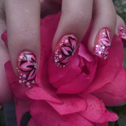 Pink Flower Nail Art Nail Art Gallery