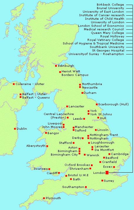 map of all uk universities