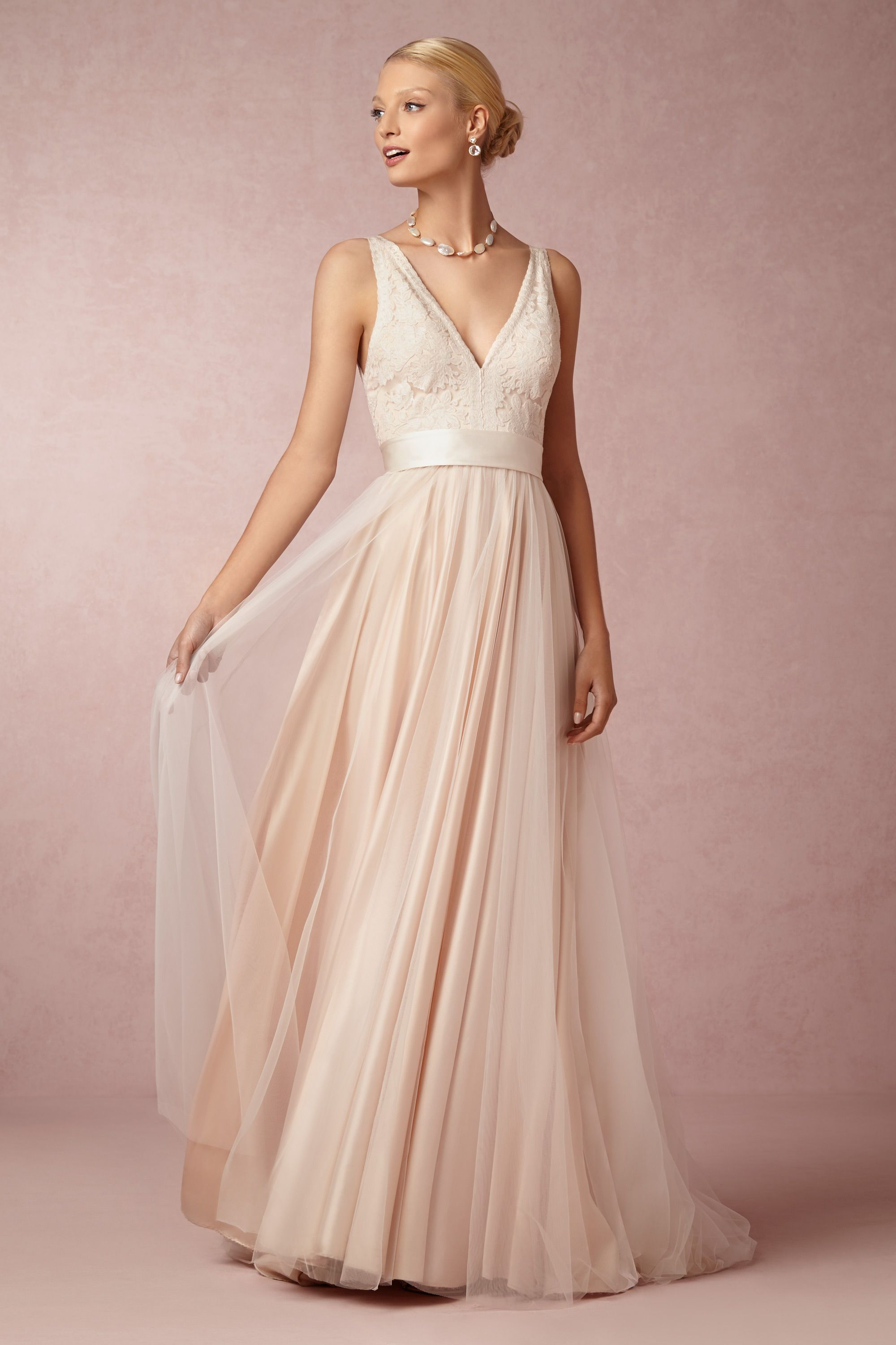 tamsin gown blush tulle wedding dress Catherine Deane blush Tamsin Gown BHLDN
