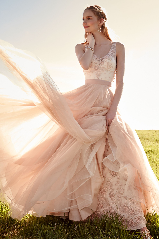 yvie gown blush colored wedding dresses Catherine Deane Pale Tearose Yvie Gown BHLDN