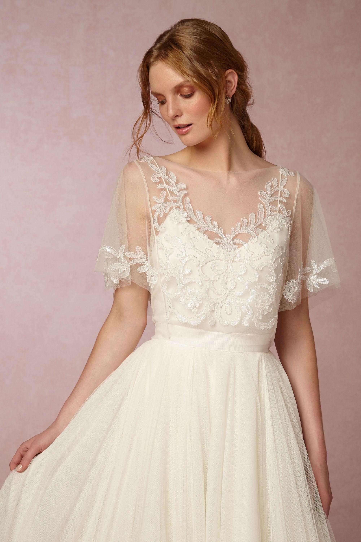 marisol topper wedding dress cover Jenny Yoo Ivory Marisol Topper BHLDN